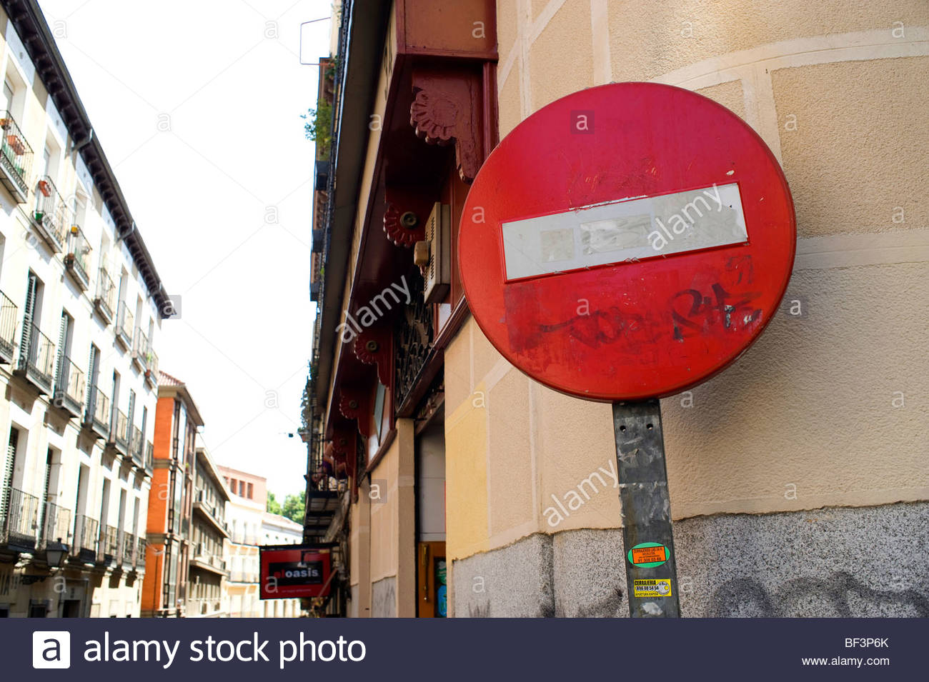 No Entry road sign on the street in Madrid - Stock Image