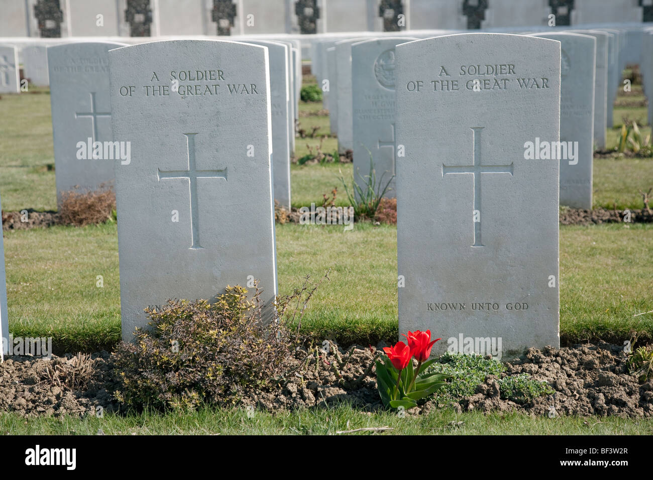 Graves of two unknown soldiers at Tyne Cot - Stock Image