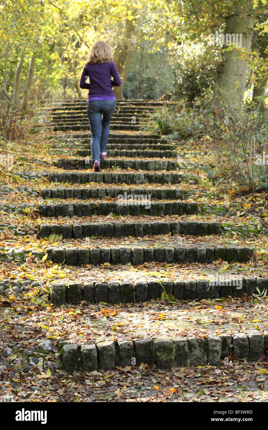 Runnymede Surrey flight of 50 granite stone steps leading to the John F Kennedy memorial stone in Autumn - Stock Image