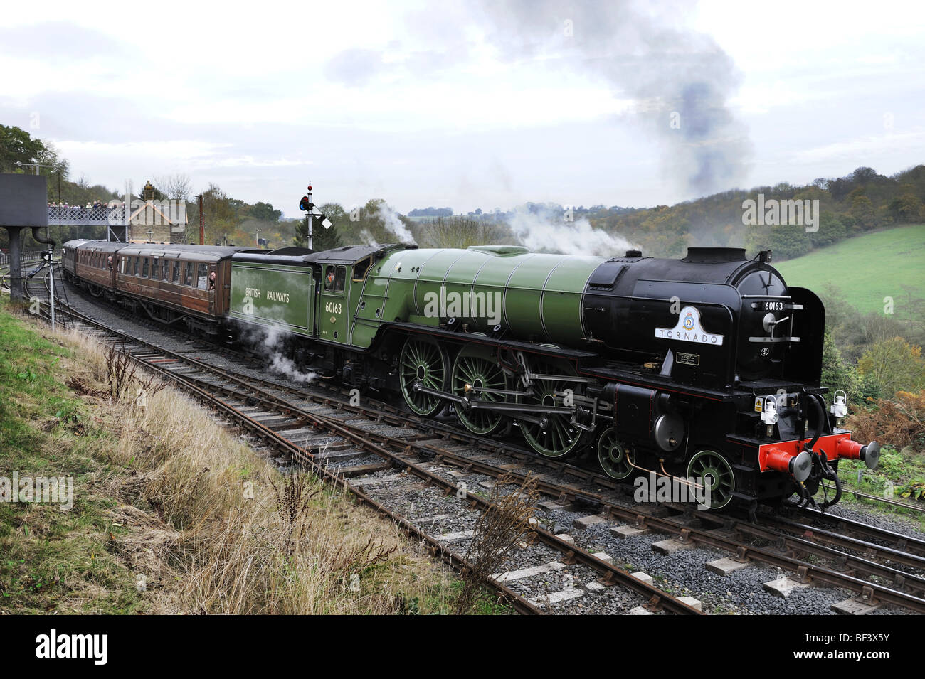 Newly built steam locomotive, Tornado, at Highley Station on the Severn Valley Railway 2009 - Stock Image