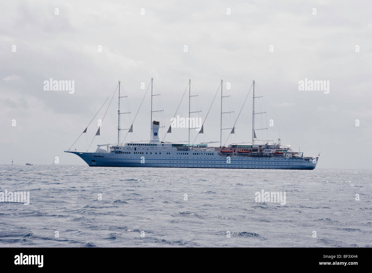 The sailing cruise ship CLUB MED 2 anchored in the lee of Saint Barthelemy (St. Barts) - Stock Image