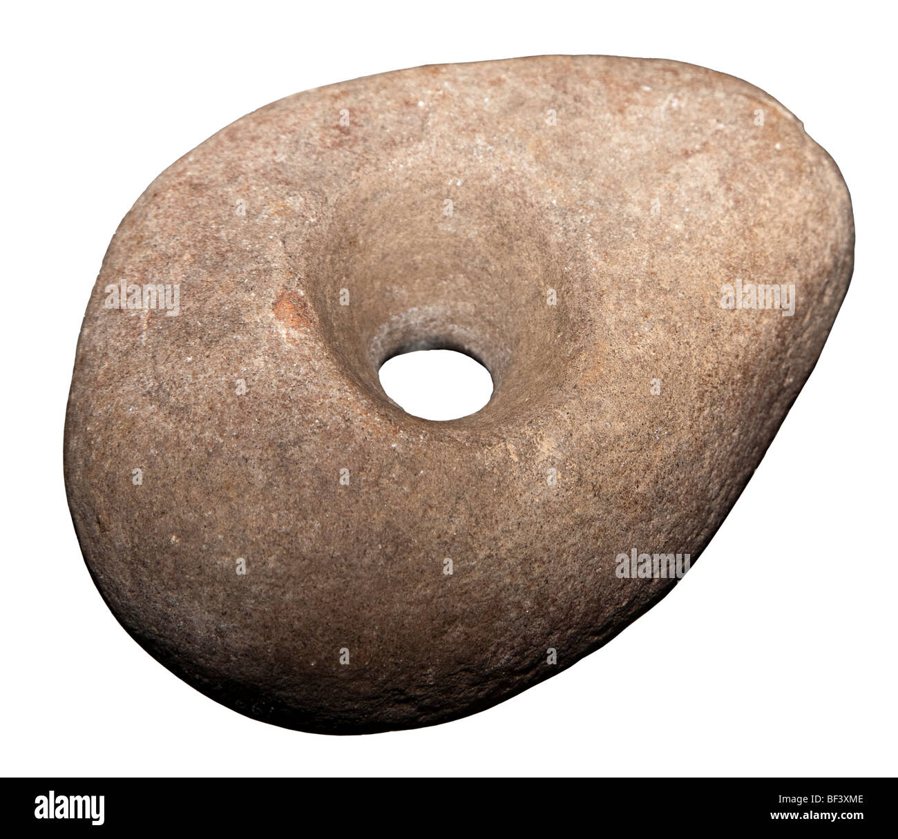 Stone tool associated with the Funnel Beaker culture Hunebedcentrum visitor centre for dolmens Borger Drenthe Netherlands - Stock Image
