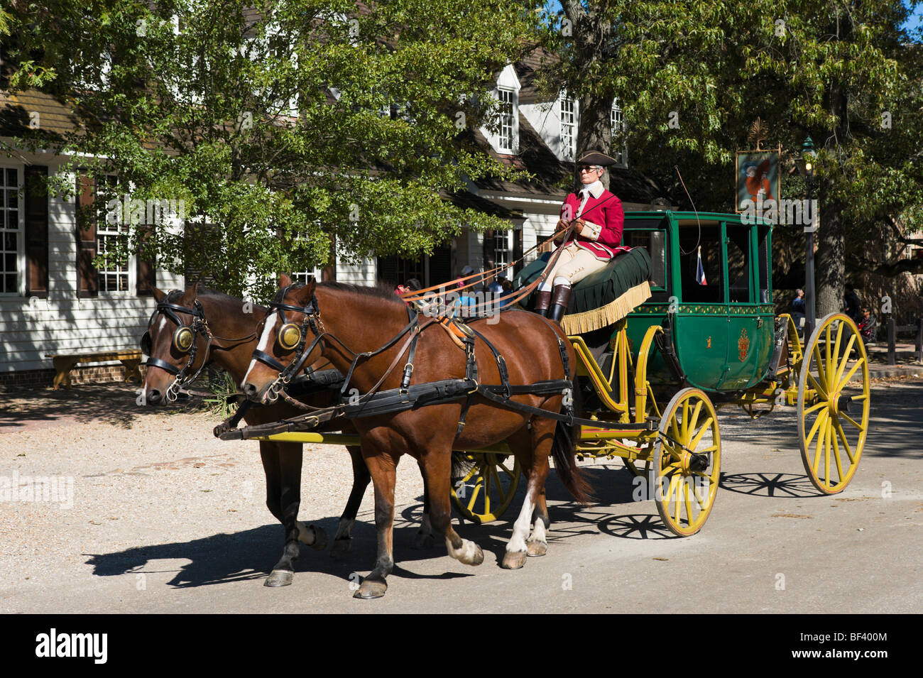 Horses and Carriage on Duke of Gloucester Street (the main street), Colonial Williamsburg,Virginia, USA - Stock Image
