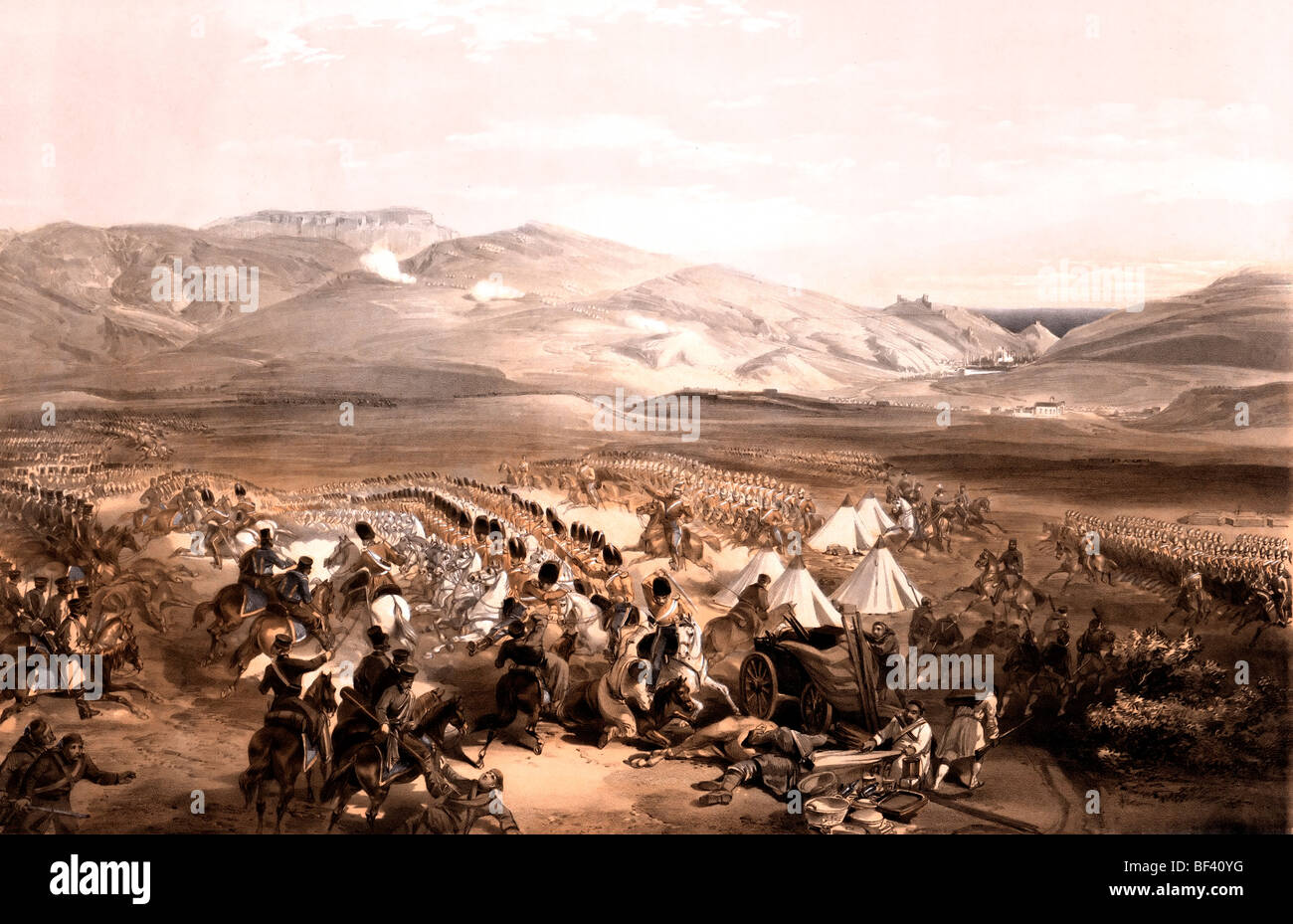 Charge of the heavy cavalry brigade, 25th October 1854 during the Crimean War - Stock Image