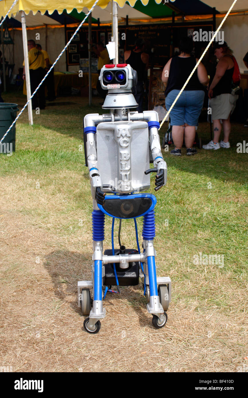 Radio controlled robot used to sell products at a fair or trade show - Stock Image