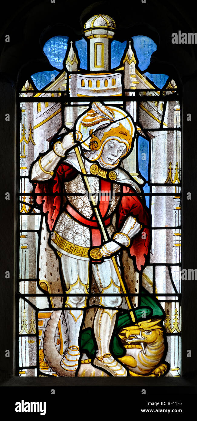 St. George and the Dragon stained glass in St. Michael`s ...