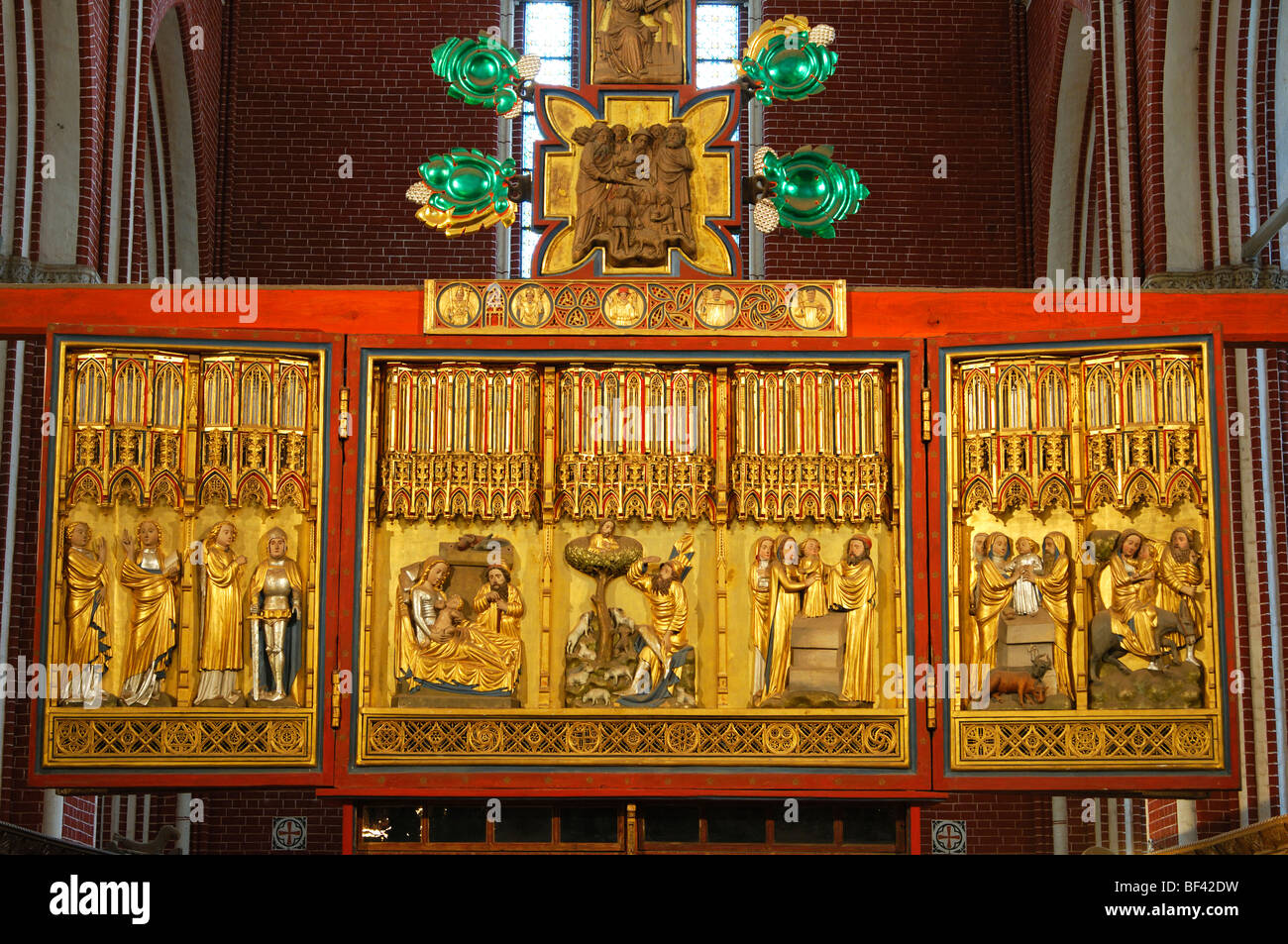 Biblical depictions on Mary's side of the double sided cross altar, Muenster Bad Doberan, Mecklenburg-Western - Stock Image