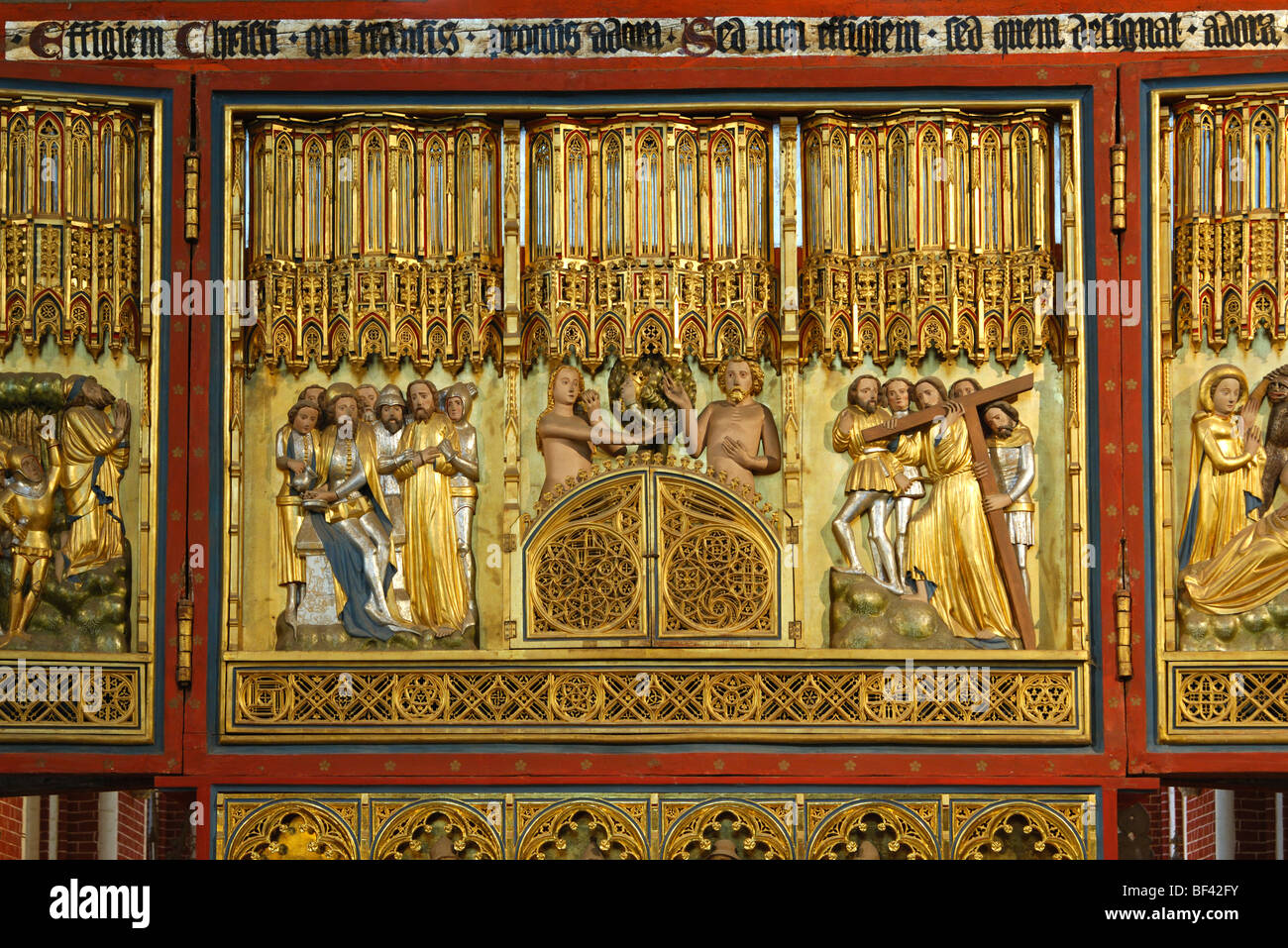 Biblical depictions on the side of Christ cross altar, Muenster Bad Doberan, Mecklenburg-Western Pomerania, Germany - Stock Image