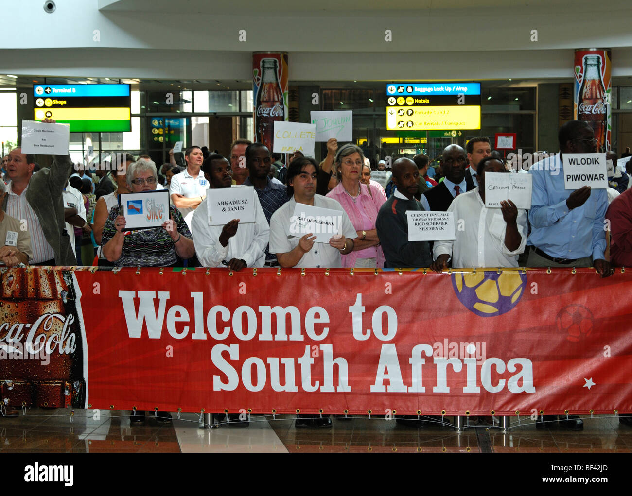 Welcome to South Africa - banner in the arrival hall of the O.R. Tambo International Airport (ORTIA), Johannesburg, - Stock Image