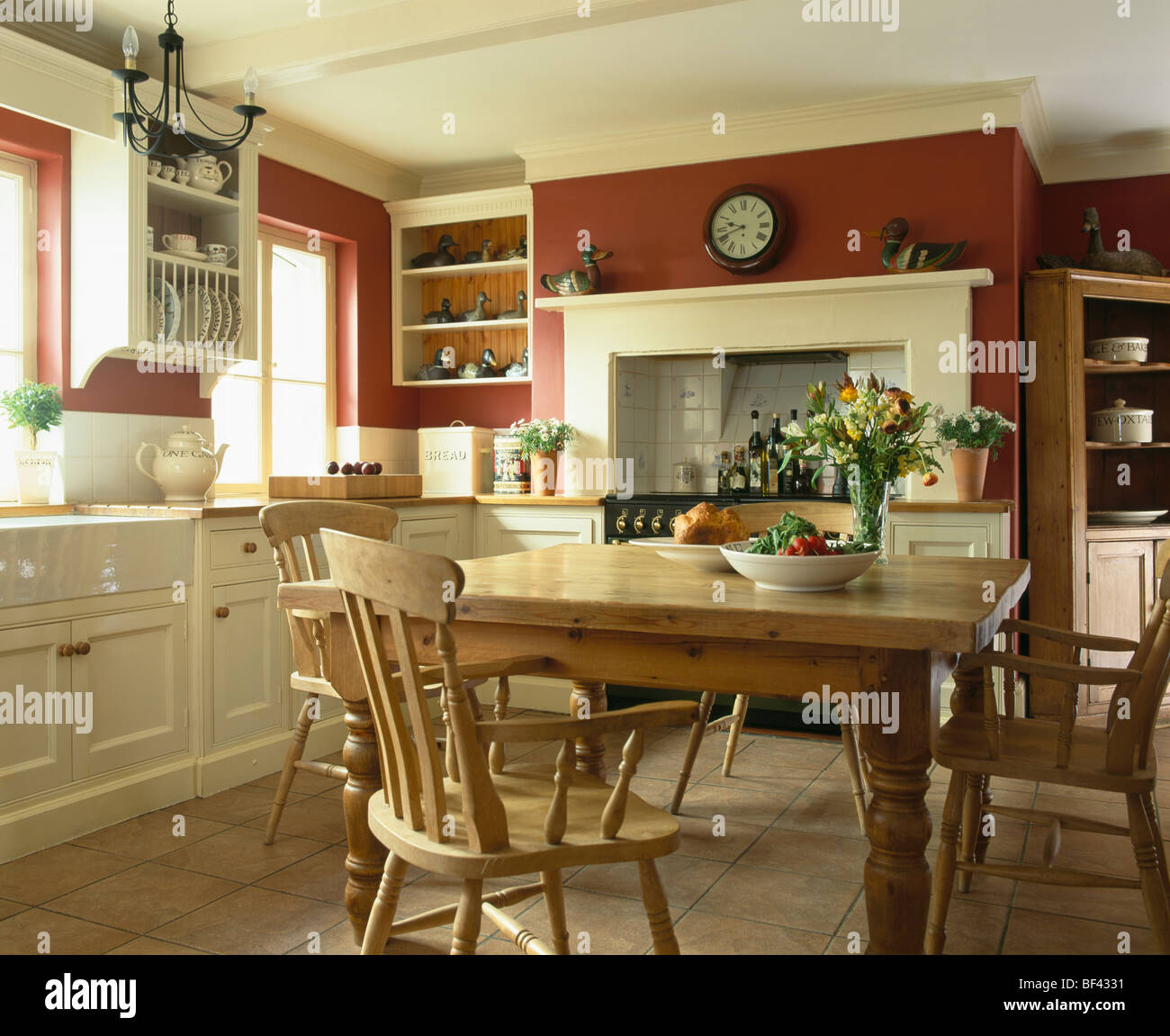 Kitchen With Living Room Design: Pine Table And Chairs In Traditional Red Country Kitchen