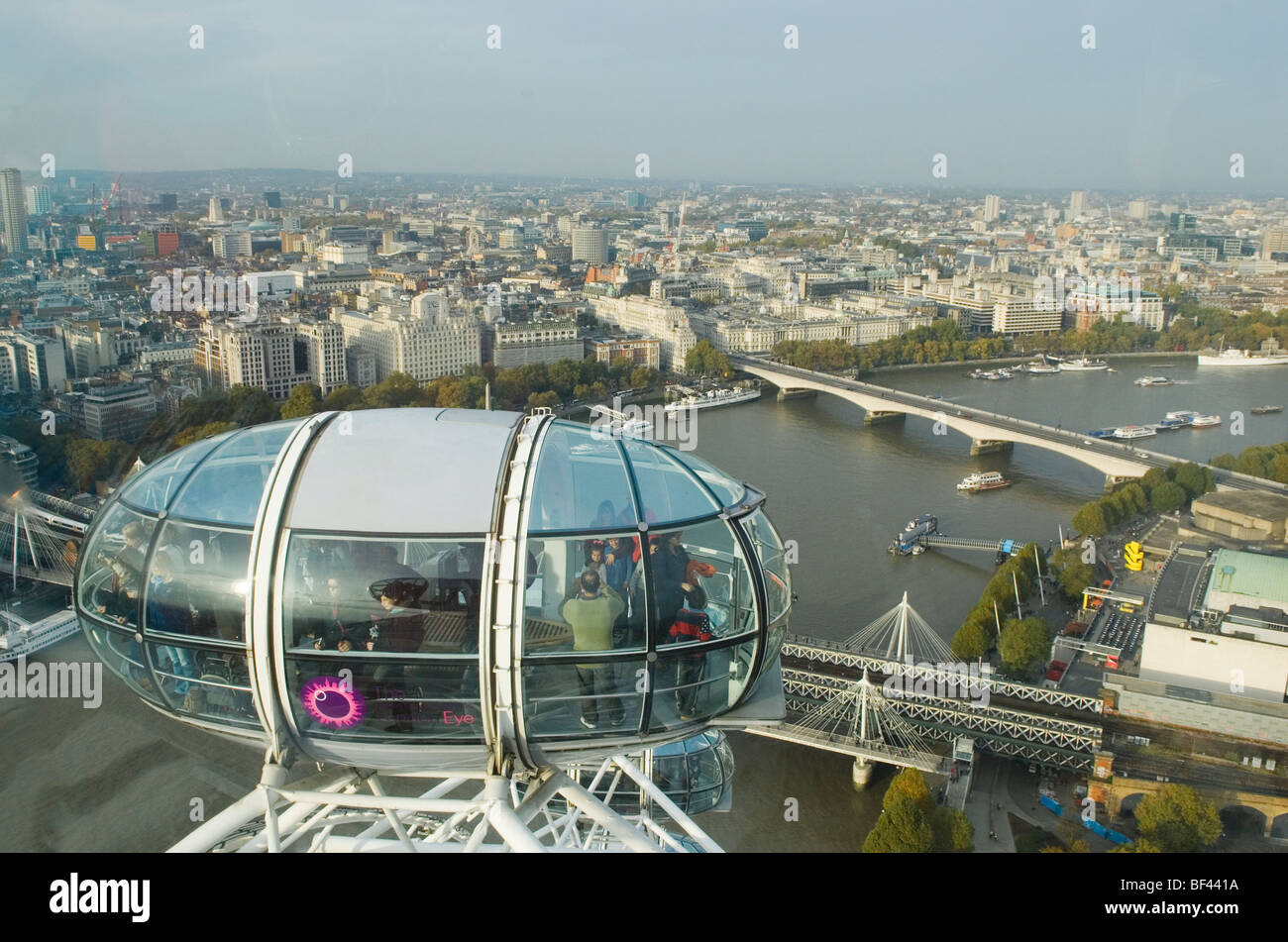 London Skyline from The London Eye. Looking north and eastwards along path of river thames. HOMER SYKES Stock Photo