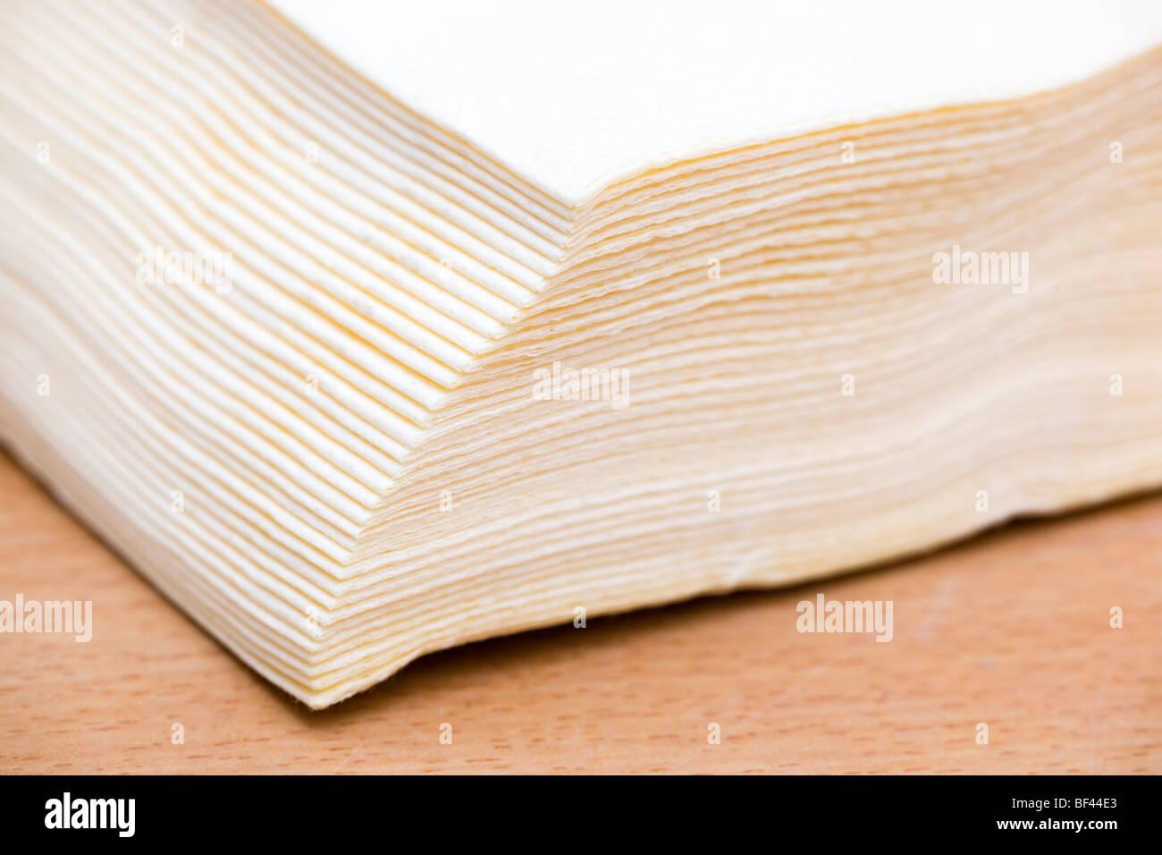 cream serviettes or napkins - Stock Image