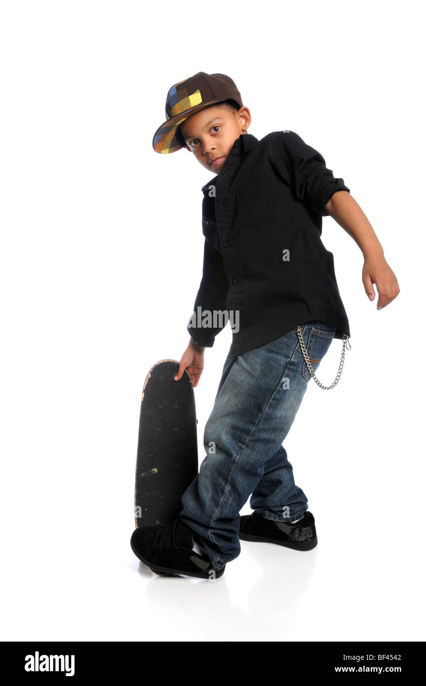 Young African American skateboarder isolated over white background - Stock Image