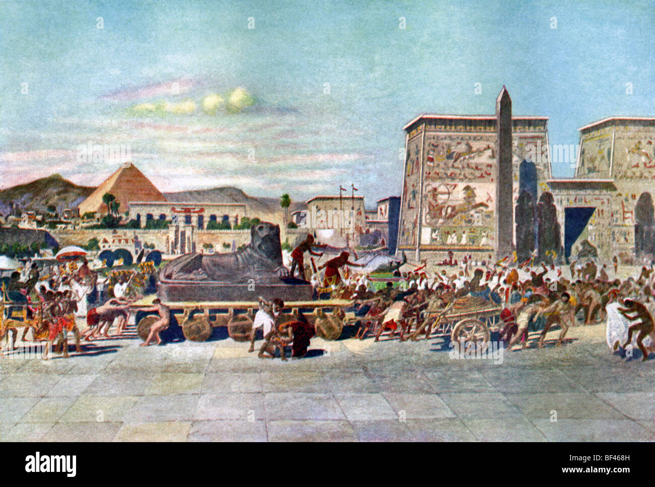 This 1905 painting reflects a belief at the time that the ancient Egyptians forced slaves and captives to build - Stock Image