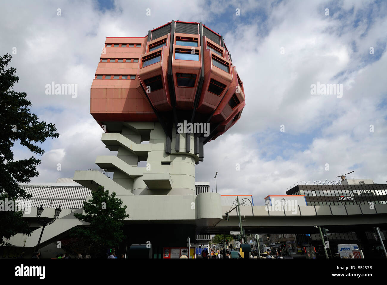 Berlin. Germany. Bierpinsel, unusual 1970's bar & restaurant building in Stegliz. Stock Photo