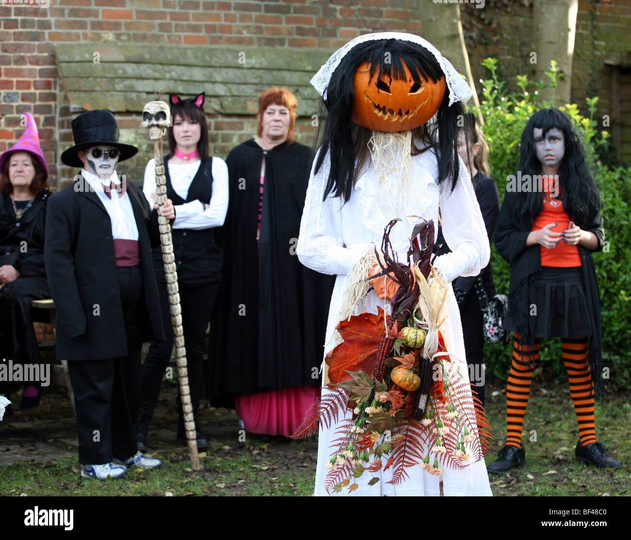 Pumpkin head Halloween competition in Burley in the New Forrest Hampshire United Kingdom - Stock Image