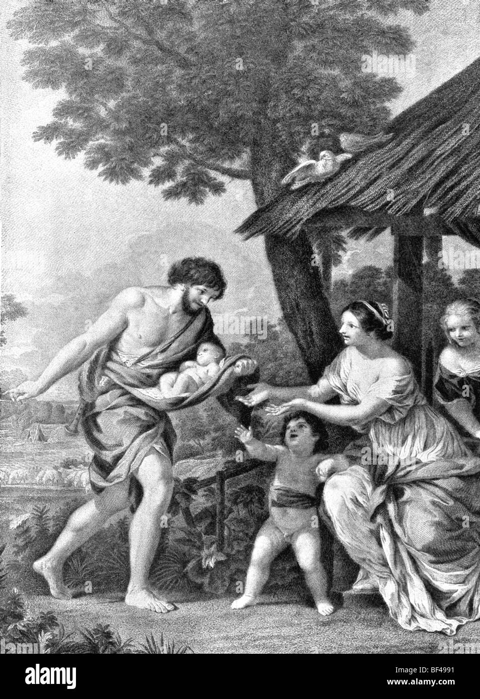 The shepherd Faustulus (left) brings the twins Romulus and Remus home to his wife. - Stock Image
