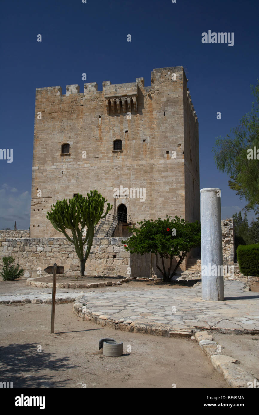 Kolossi castle and pillar republic of cyprus - Stock Image