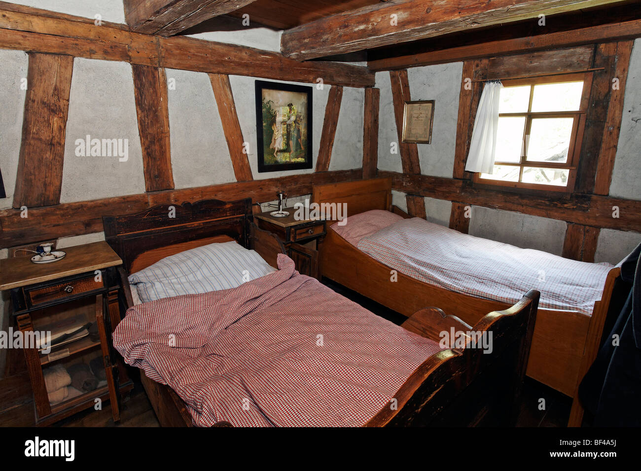Beds in the servants' bedroom, historic bakery from 1730, Wolfegg Farmhouse Museum, Allgaeu, Upper Swabia, Baden - Stock Image