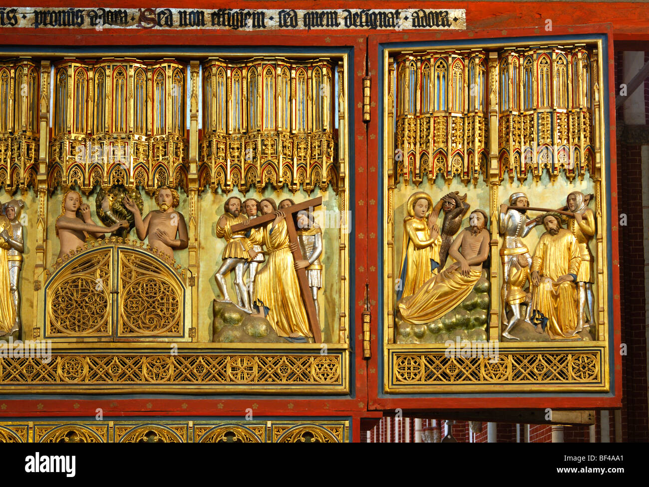 Biblical depictions on the Christ side of the double-sided altar, Doberaner Muenster cathedral of Bad Doberan, Mecklenburg - Stock Image
