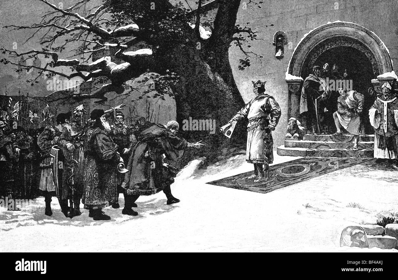 Henry IV speaks with citizens of Worms after the bishops in support of the emperor renounced their allegiance to - Stock Image