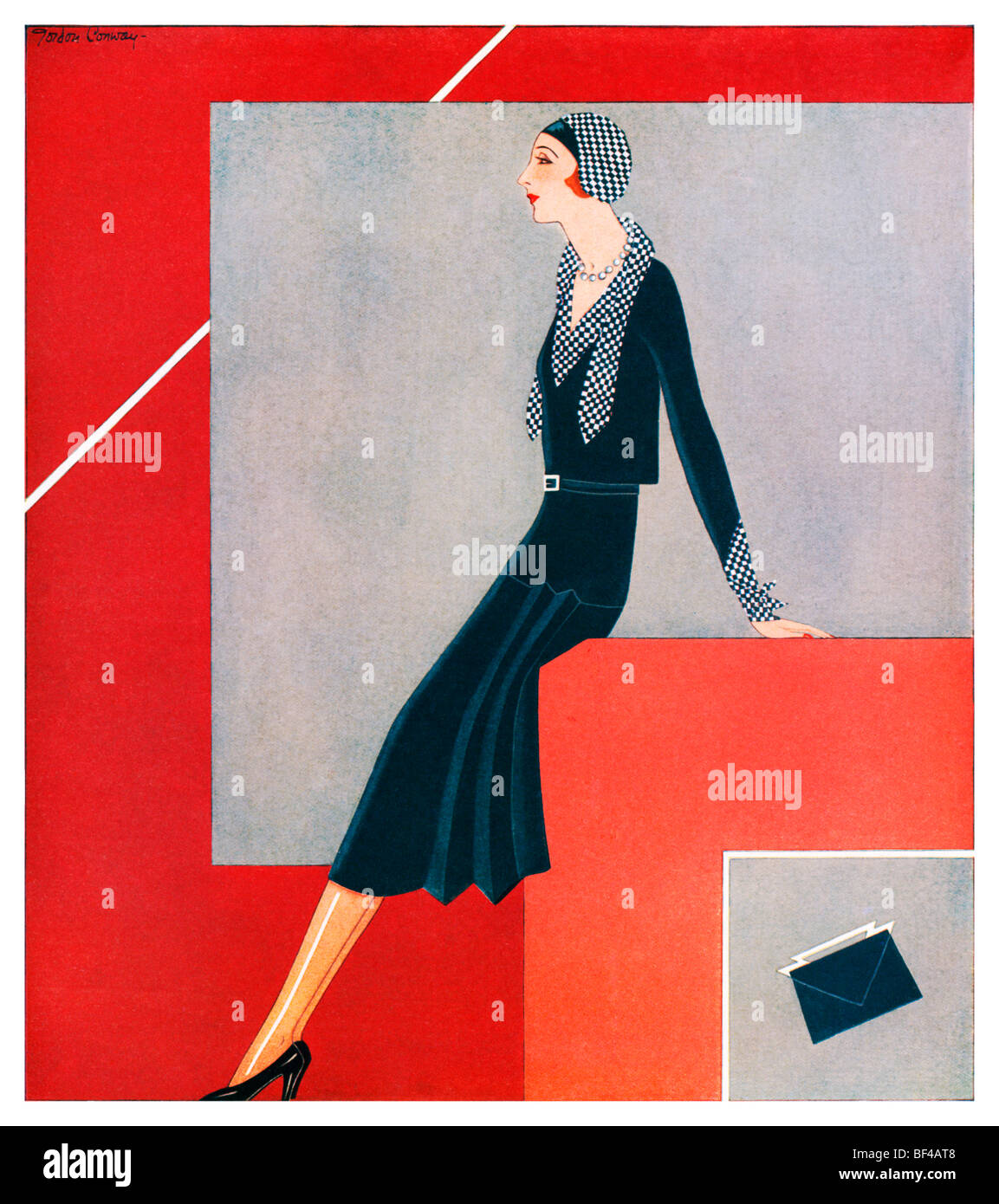 morning frock beautiful 1930s art deco fashion illustration of an stock photo 26526536 alamy. Black Bedroom Furniture Sets. Home Design Ideas