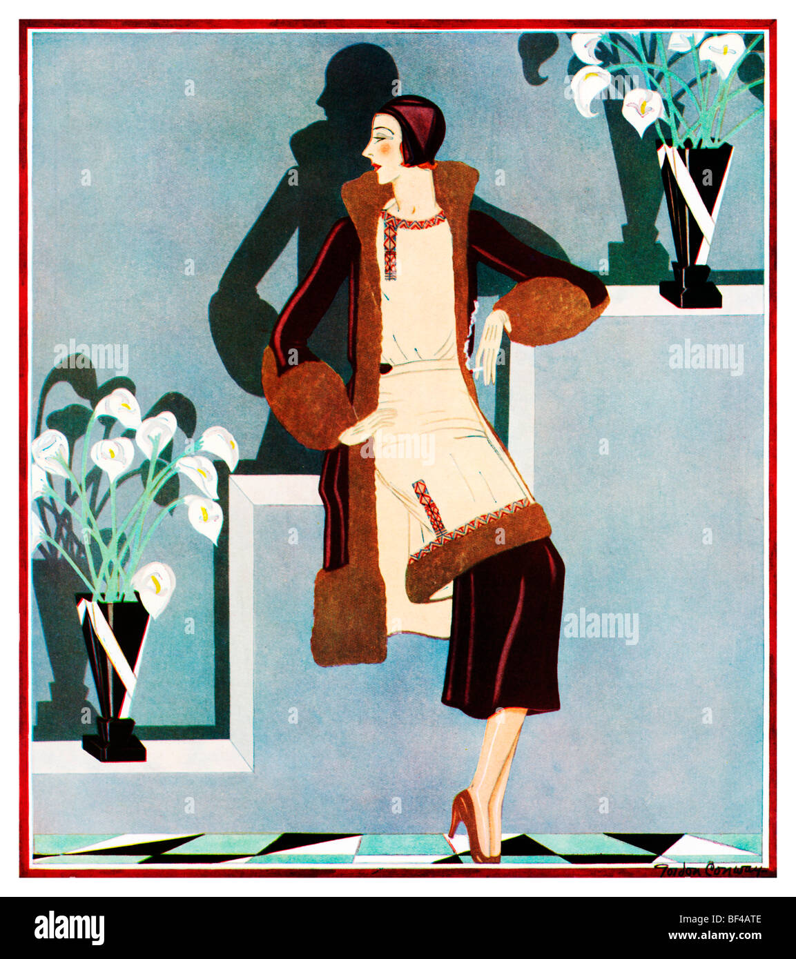 afternoon in velvet beautiful 1930s art deco fashion illustration of stock photo 26526542 alamy. Black Bedroom Furniture Sets. Home Design Ideas