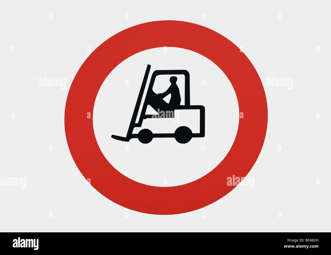 Warning sign, caution forklift truck traffic - Stock Image