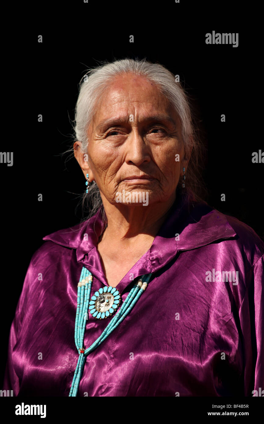 Beautiful Navajo Elder Wearing Handmade Traditional Turquoise Jewelry - Stock Image