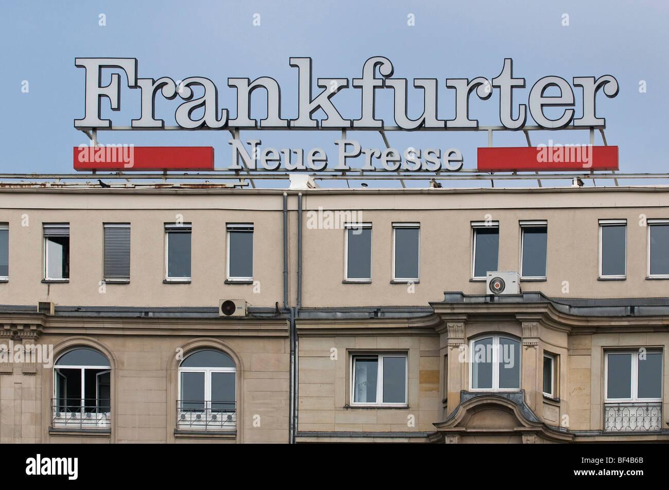 Frankfurter Neue Presse, FNP, German daily newspaper, logo on a building, Frankfurt am Main, Hesse, Germany, Europe - Stock Image
