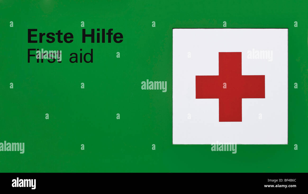 First aid sign, green - Stock Image