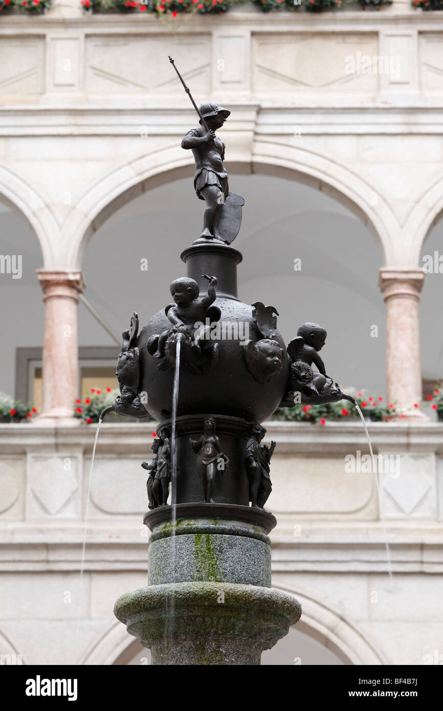 Planet Fountain in Laubenhof arcade courtyard of the Landhaus building, Linz, Upper Austria, Austria, Europe - Stock Image