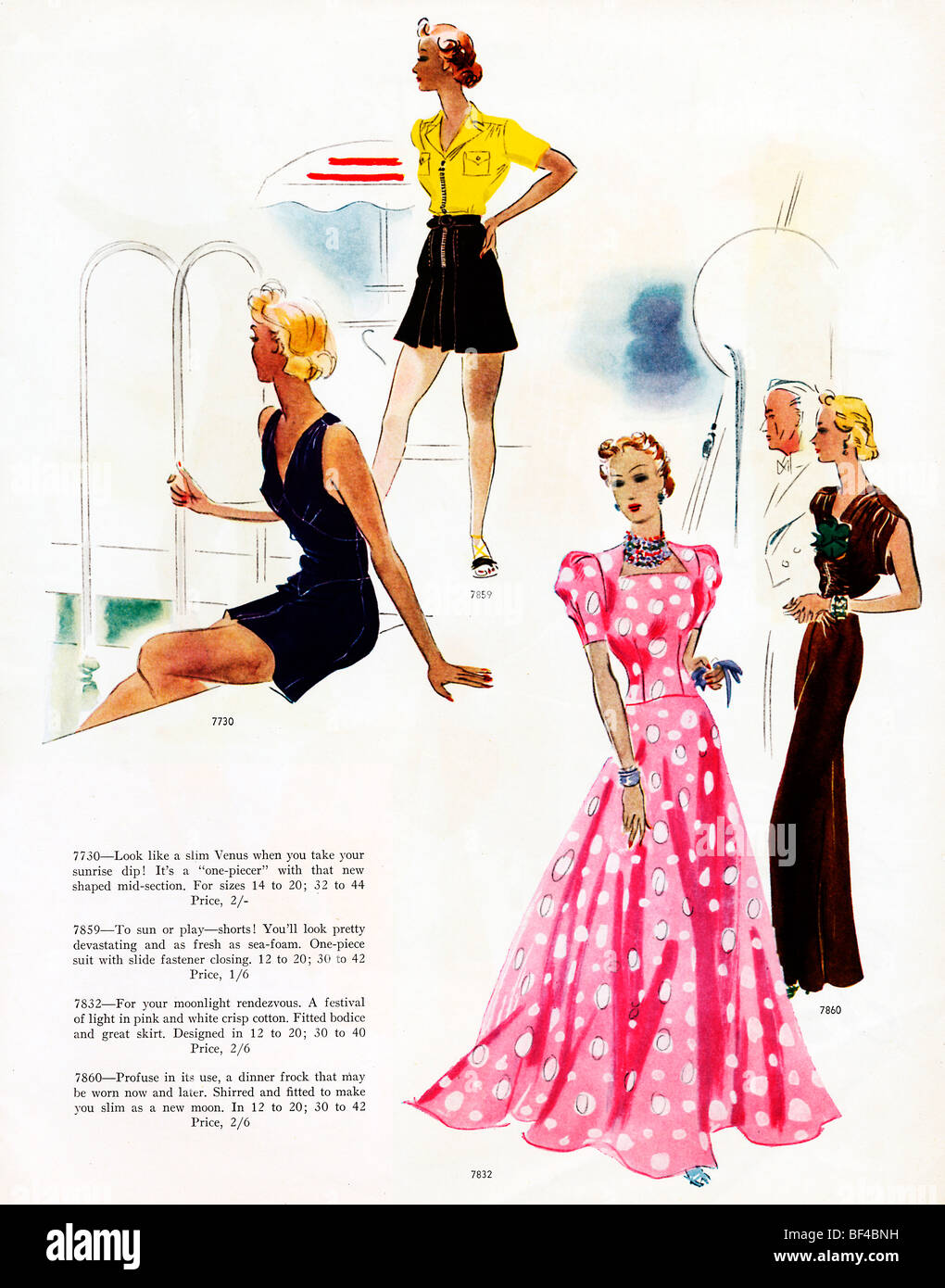 Resort Wear, 1930s fashion magazine illustration of patterns for poolside, lounging and evening wear on holiday Stock Photo