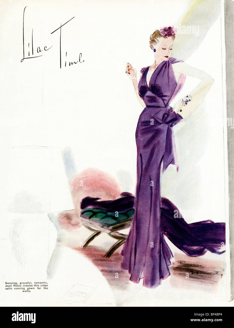 Lilac Time, 1930s fashion magazine illustration of a swaying, graceful, romantic crepe satin evening gown by Jean - Stock Image