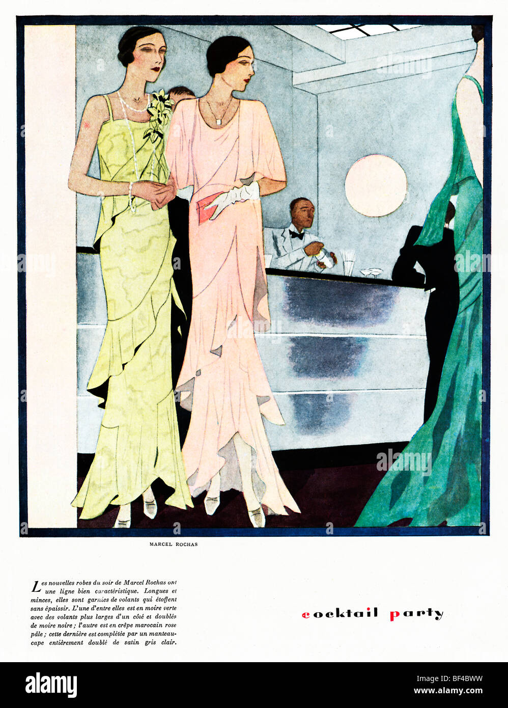 Cocktail Party, 1930 French fashion magazine illustration, elegant ladies at the bar, evening gowns by Marcel Rochas - Stock Image