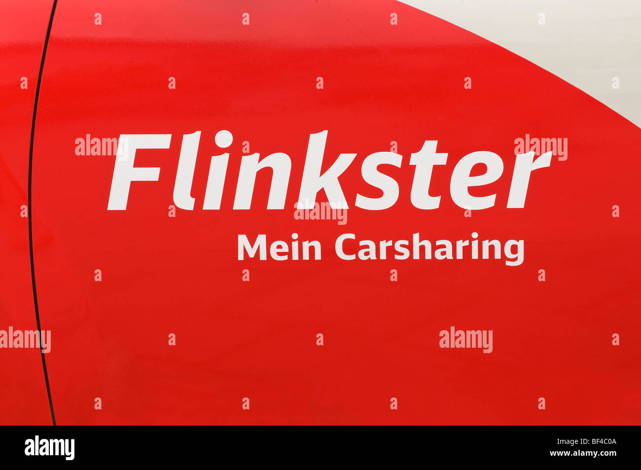 Logo, Flinkster Mein Carsharing, on a car door, car sharing, organized, collaborative use of vehicles, service of - Stock Image