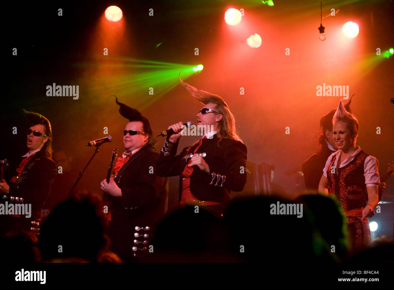 Finnish band, Leningrad Cowboys, performing live at the Schueuer, Lucerne, Switzerland, Europe - Stock Image