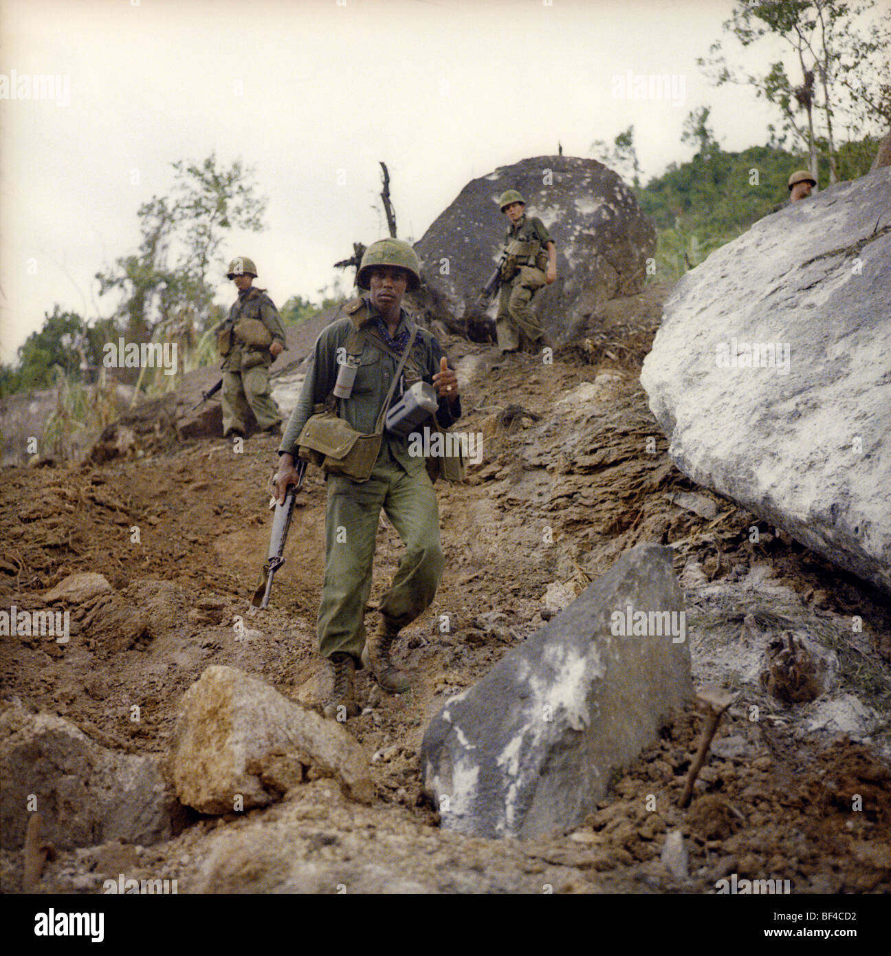 Members of B Troop, 1st Squadron, 9th Cavalry on patrol during the Vietnam War in 1967. - Stock Image