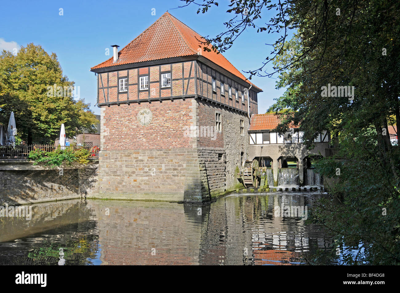 Water mill, Stever River, Luedinghausen, Coesfeld, Muensterland, North Rhine-Westphalia, Germany, Europe - Stock Image