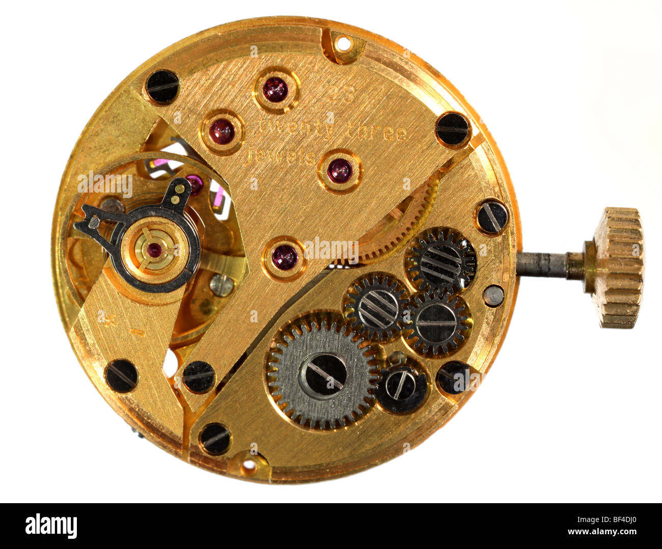 View of the back of the workings of a wristwatch - Stock Image
