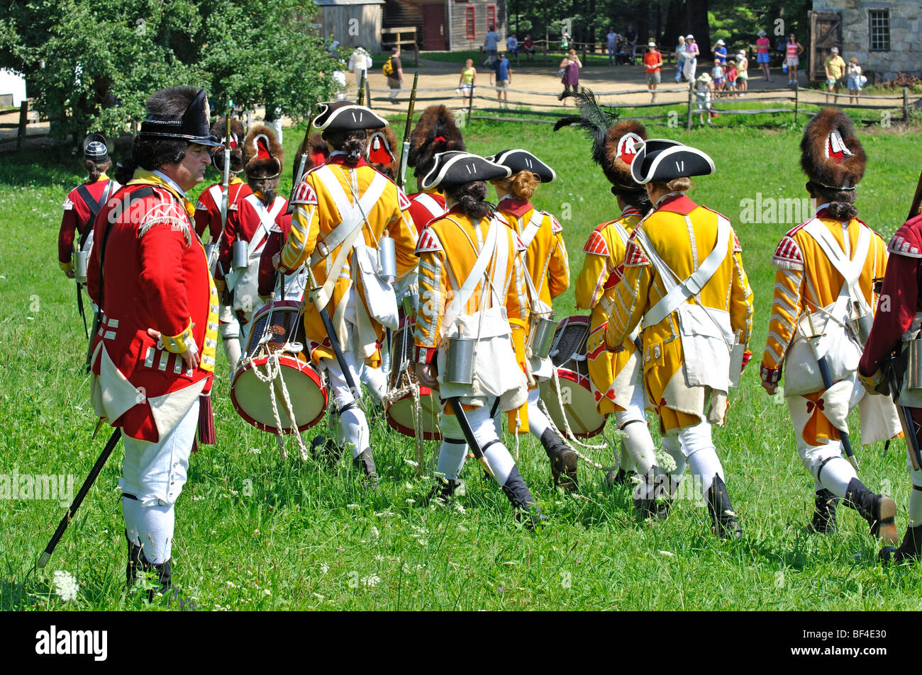 44th Regiment of Foot infantry regiment of the British Army - costumed American Revolutionary War (1770's) era - Stock Image