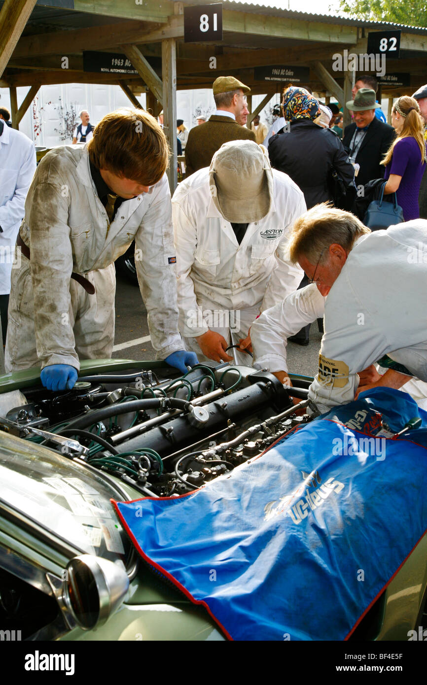 1961 Aston Martin Project 212 attended by mechanics in the paddock at the 2009 Goodwood Revival meeting, Sussex, - Stock Image