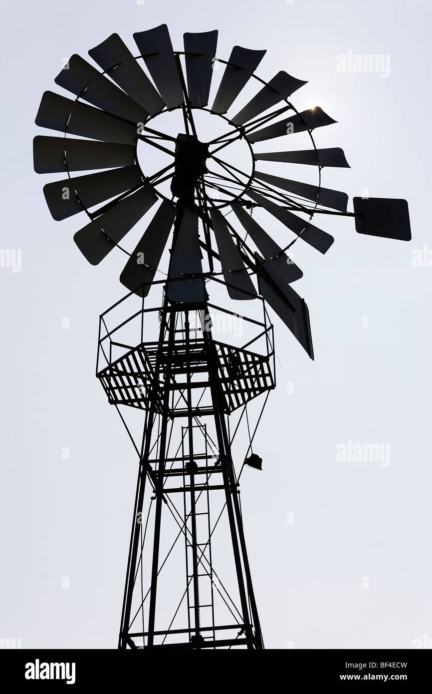Historic windwheel from 1907 for the operation of a ground water pump, Wolfegg farmhouse museum, Allgaeu region, - Stock Image