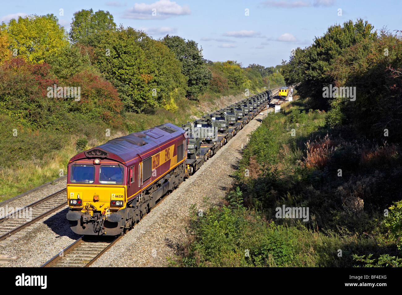 DBS 66230 heads Ashchurch - Didcot MoD through Heresfield on 12/10/09. - Stock Image