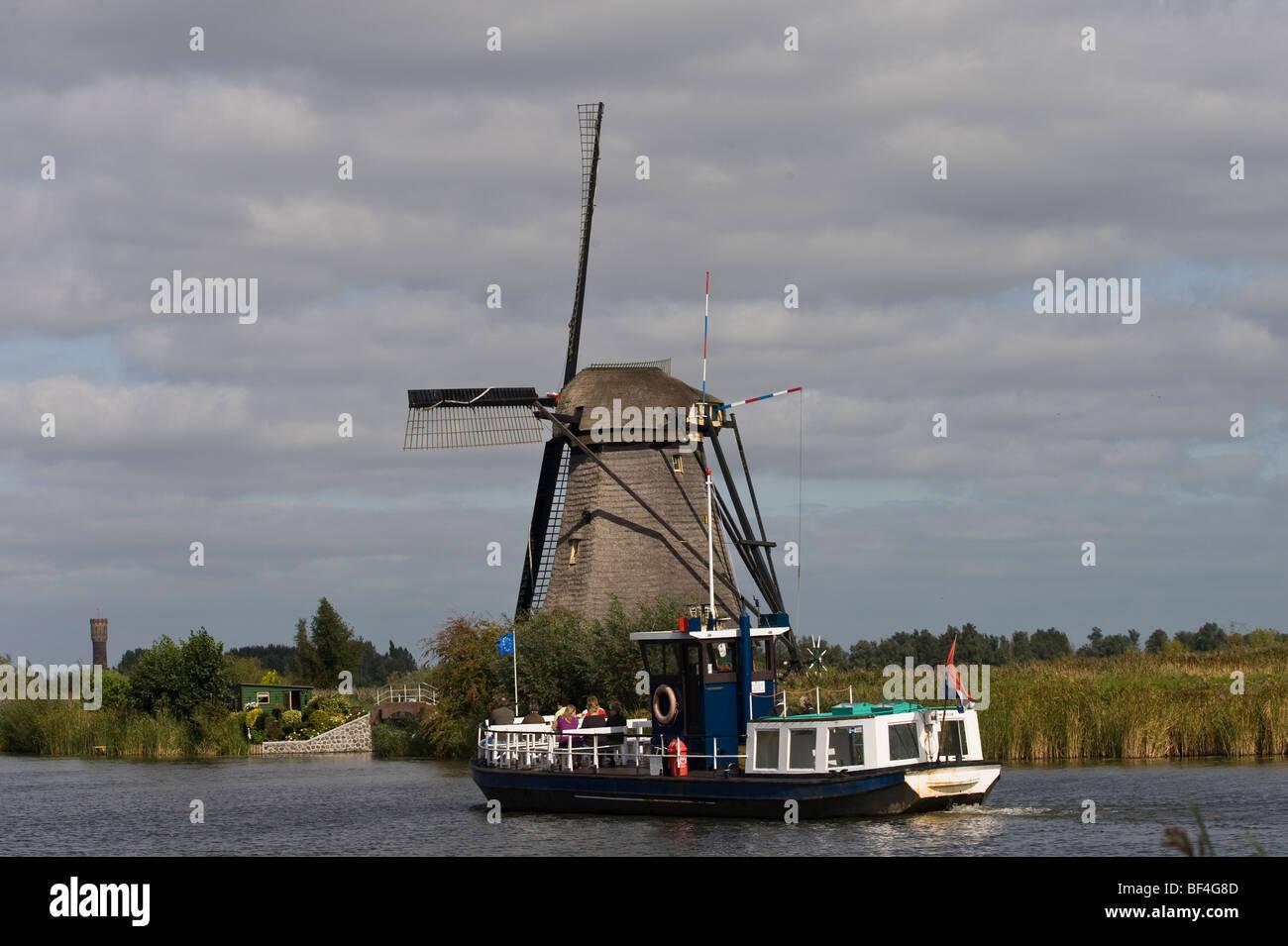 Kinderdijk, polder mills, South Holland, Holland, Netherlands, Europe - Stock Image