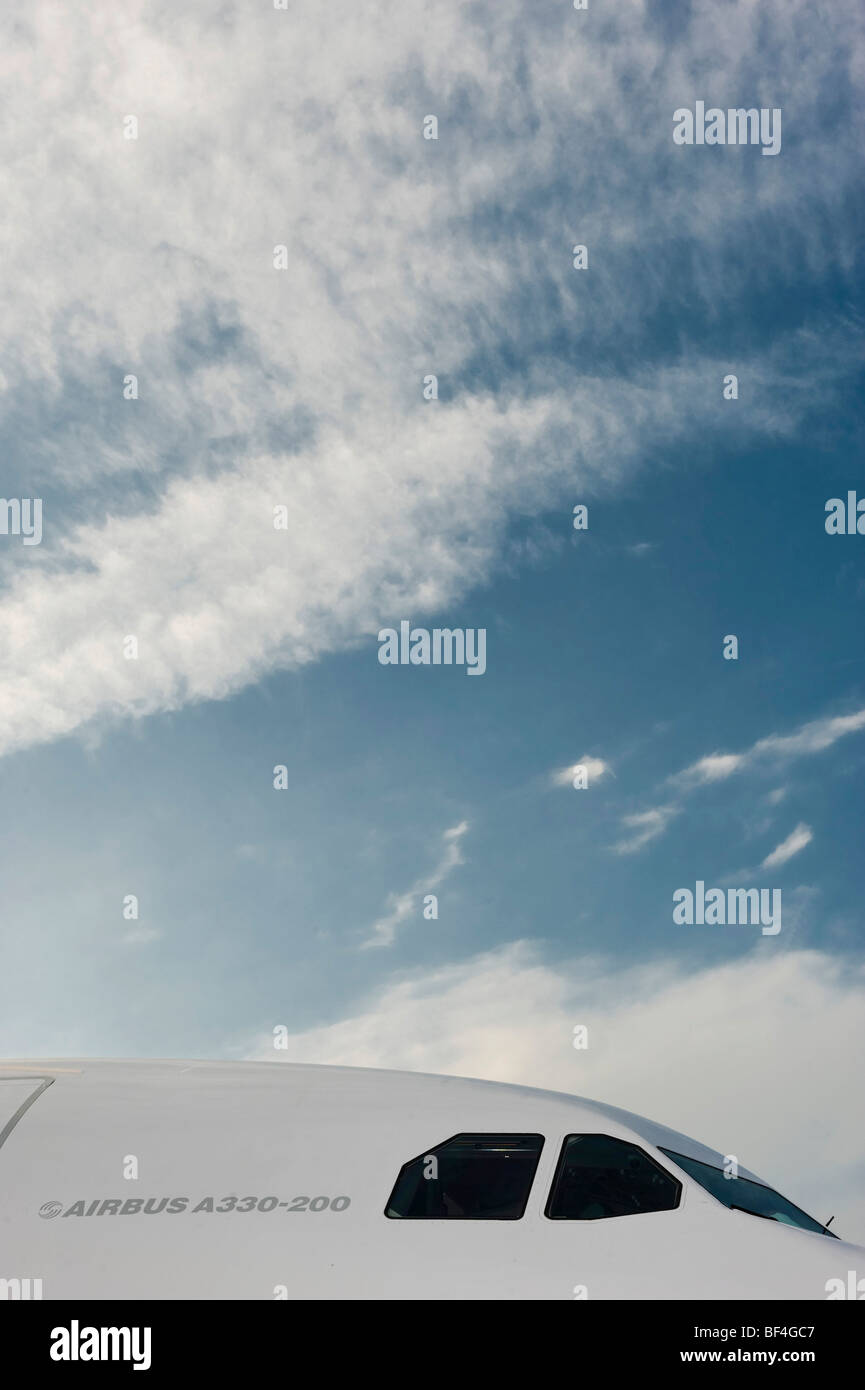 Cockpit of an Airbus A330-200 of the airline Oman Air, Munich Airport, Bavaria, Germany, Europe - Stock Image