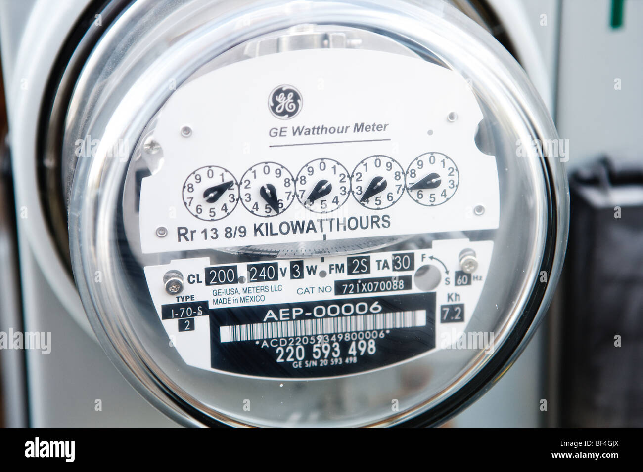 Close up of an electric meter - Stock Image