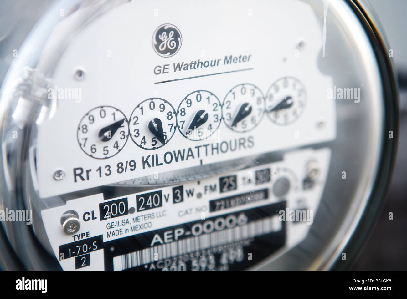 Close up view of an electric meter - Stock Image