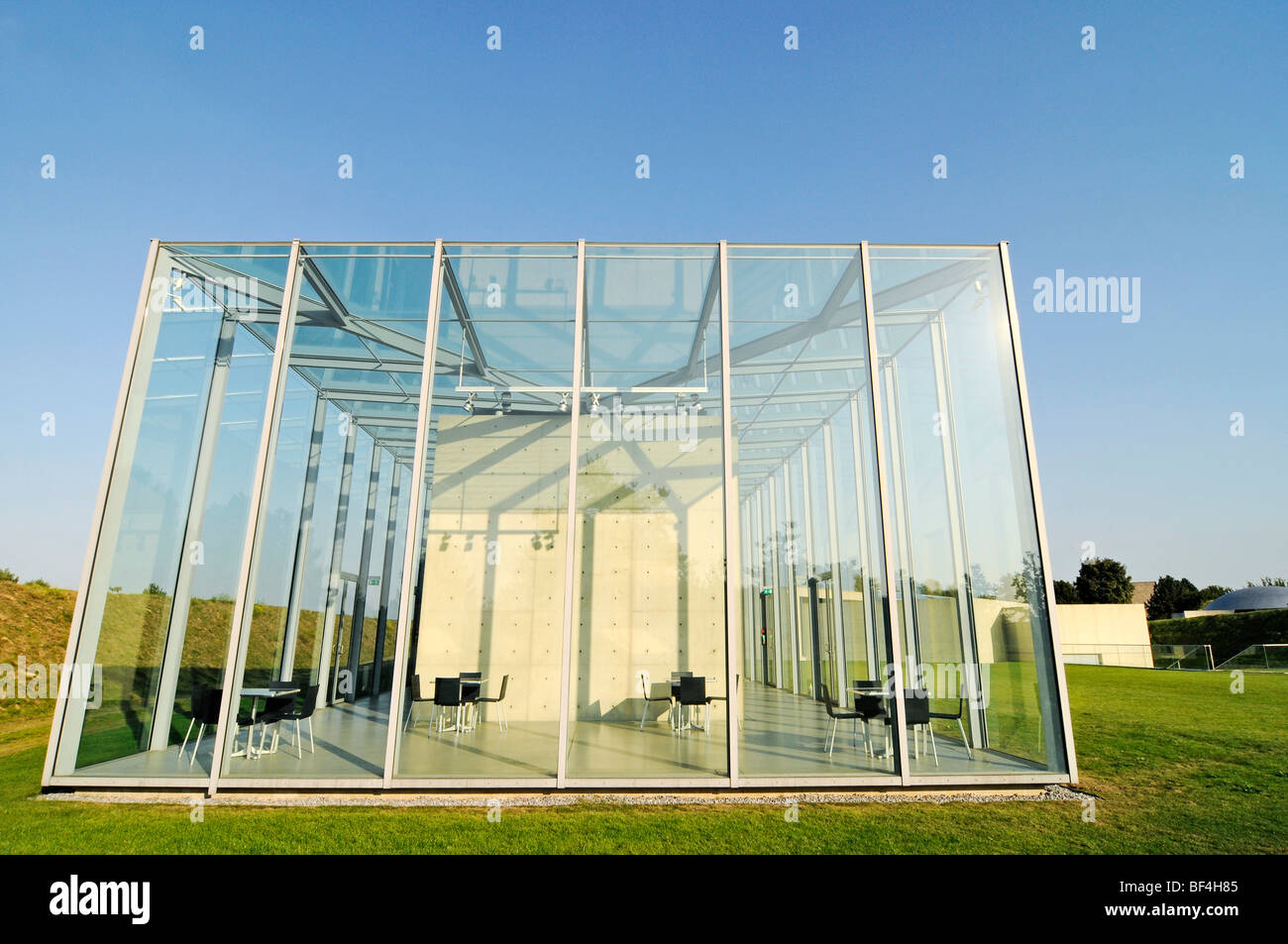 Glass, construction, modern architecture, former missile base, art museum, Langen Foundation, architect Tadao Ando, - Stock Image