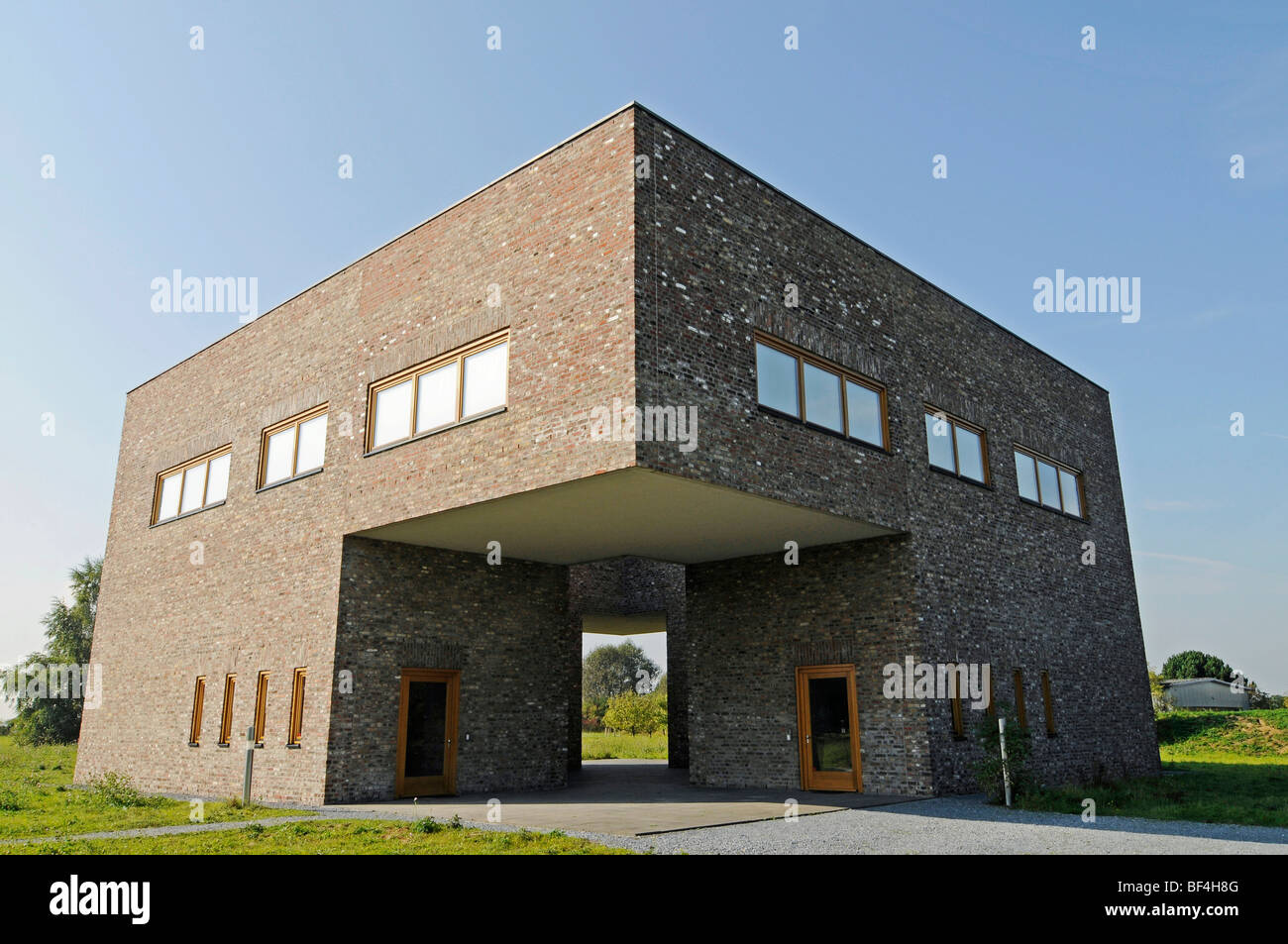 Modern architecture, building, former missile base, art museum, Langen Foundation, architect Tadao Ando, Hombroich, - Stock Image